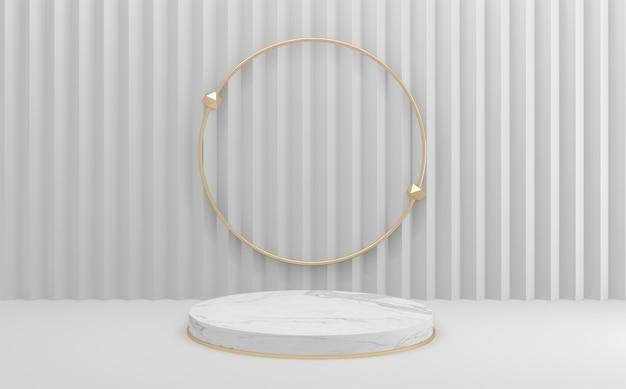 3d визуализация геометрический макет пустой белый подиум стиль