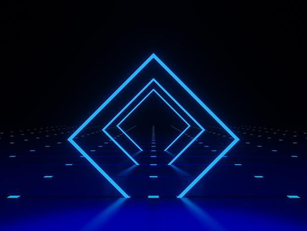3d 렌더링 기하학적 네온 프레임 파란색 사각형 빛