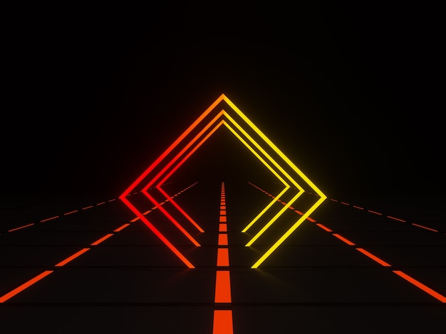 3d 렌더링 기하학적 네온 프레임 그라데이션 사각형 빛