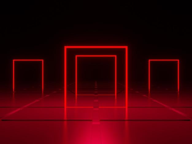3d 렌더링 기하학적 네온 프레임 붉은 광장 빛
