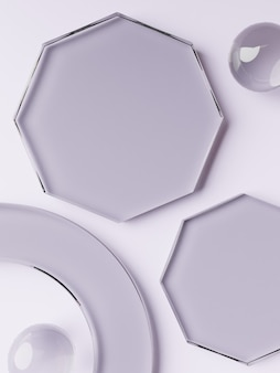 3d-рендеринг геометрической или абстрактной формы акриловые стеклянные пластины фон дисплея продукта