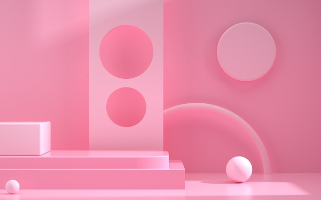3d rendering of geometric pink background scene with a simple podium for display products