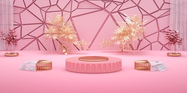 3d rendering of geometric pink background with podium for product display