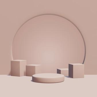 제품 배치, 단색 색상에 대한 3d 렌더링 기하학적 연단