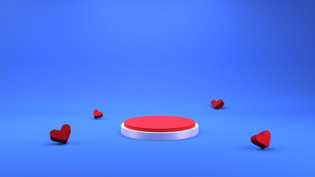 幾何学的な表彰台のシーンと愛の背景をレンダリングする3d
