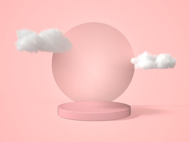 3d rendering geometric shape pink pastel podium