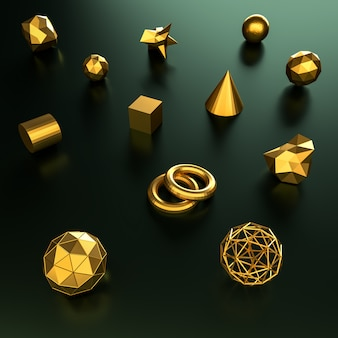 3d rendering geometry gold color background and texture.