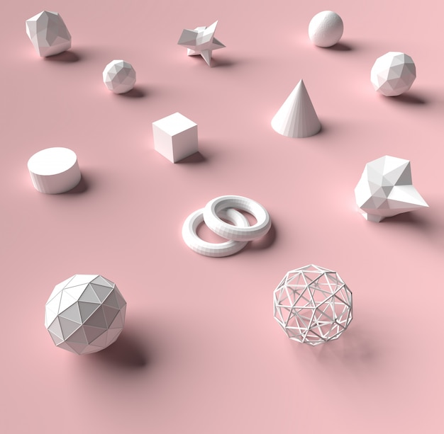 3d rendering geometry on pink color background and texture.