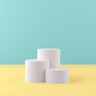 3d rendering geometry shapes mock up scene minimal concept, white podium with green and yellow background for product or perfume
