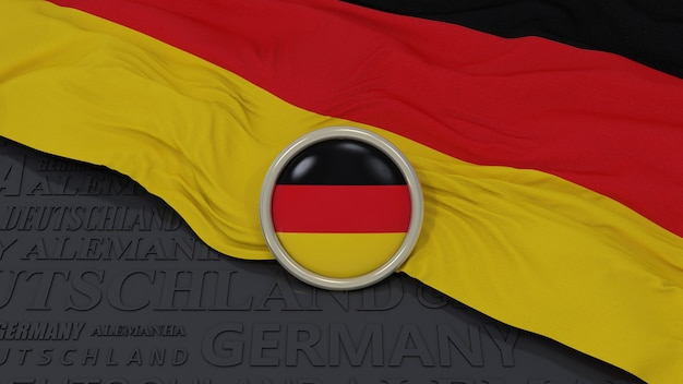 3d rendering of an germany national flag and glossy button over black background