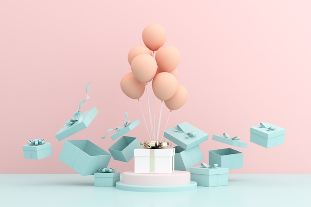 3d rendering of gift box and balloons on pink.