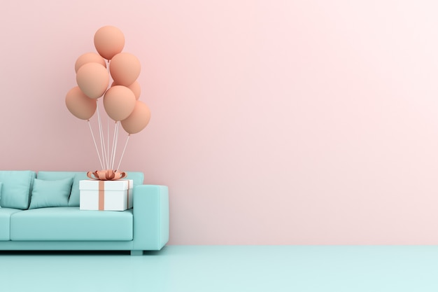 3d rendering of gift box and balloons on sofa.