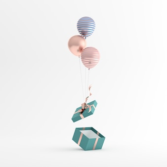 3d rendering of gift box and balloons on white background.