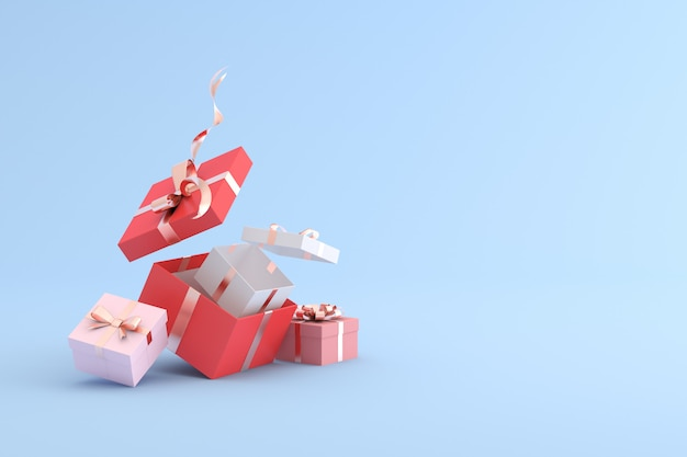 3d rendering of gift box on blue background.