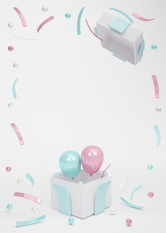 3d rendering of gift box open pink blue balloons fly out with confetti element on background
