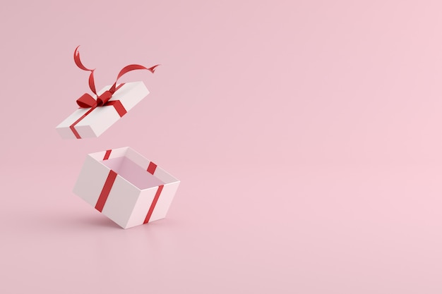 3d rendering of gift box on pink background.