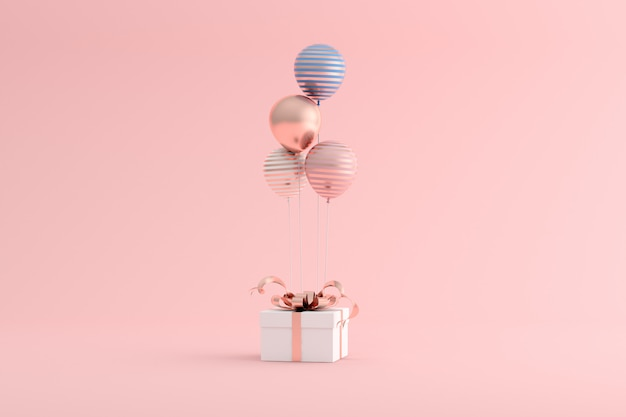 3d rendering of a gift box with balloons