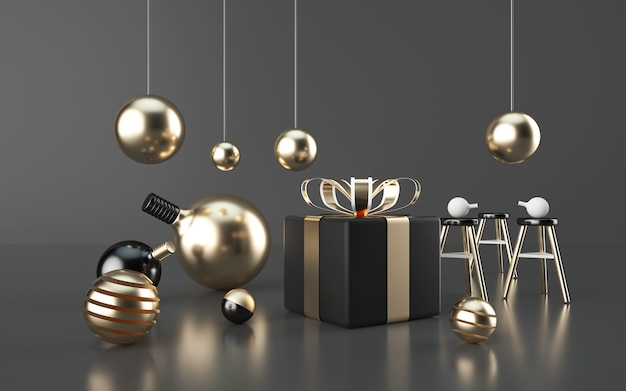3d rendering of gift box with gold light bulb