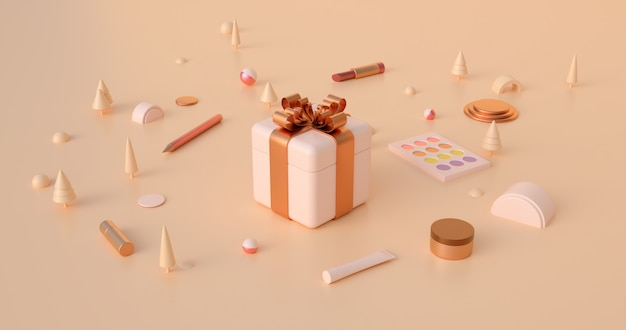 3d rendering of gift boxes and abstract christmas objects in earth tone colors.