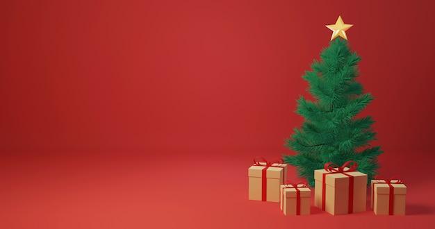 3d рендеринг подарочные коробки вокруг елки