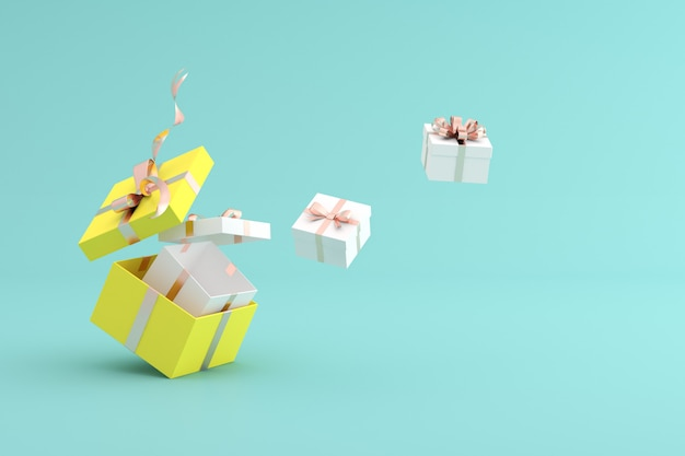 3d rendering of gift boxes on green background.
