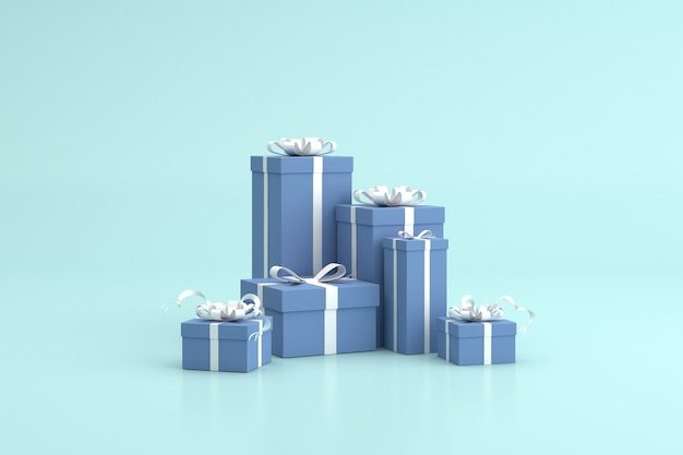 3d rendering of gift boxes, minimal scene, birthday gifts.