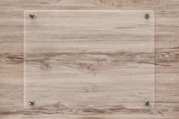 木製の背景に3dレンダリングガラス板またはアクリルフレーム
