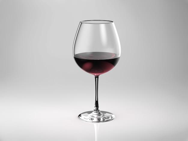 赤ワインまたはバーガンディの3dレンダリンググラス