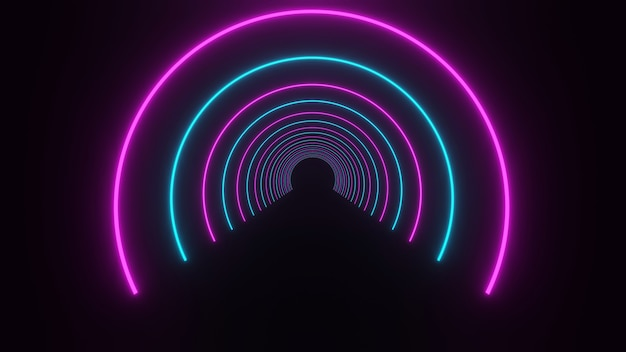3d rendering, glow lines, tunnel, neon lights, virtual reality, abstract backgrounds, sphere portal, arc, bright pink blue spectrum, laser show