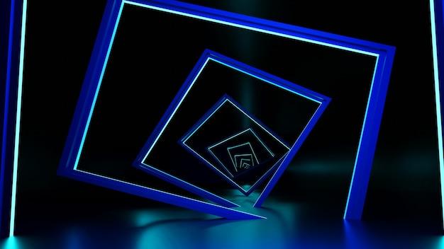 3d 렌더링, 광선 선, 터널, 네온 불빛, 가상 현실 추상적 인 배경 무단 포털 사각형 곡선 스펙트럼 파란색 로브 밝은 레이저 쇼
