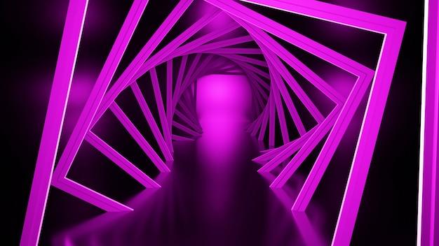 3d 렌더링, 광선 선, 터널, 네온 불빛, 가상 현실 추상적 인 배경 무단 포털 사각형 곡선 스펙트럼 밝은 분홍색 레이저 쇼