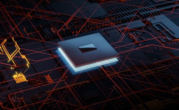 회로 기판의 3d 렌더링 빛나는 칩셋 cpu. 전자 기술 개념.