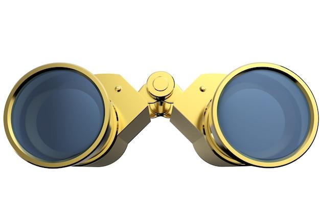 흰색 배경에 고립 된 3d 렌더링 골드 쌍안경