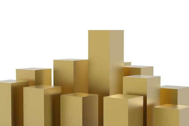 흰색 배경에 3d 렌더링 금 건물