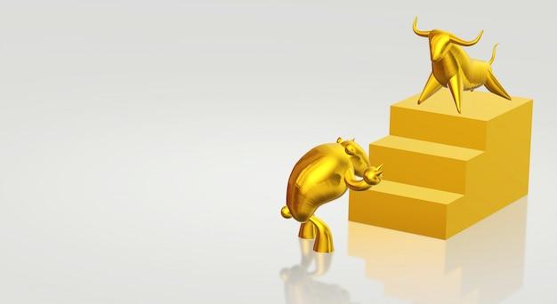 3d представляя содержание золота быка и медведя дела.