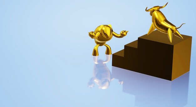 3d rendering gold bull and bear business content.
