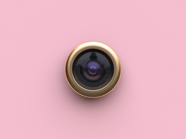 3d rendering gold circle lens camera pink flat background