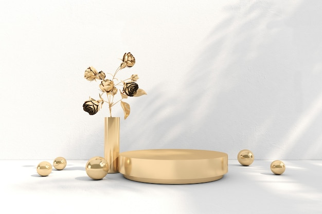 3d rendering of gold flower podium in minimal background