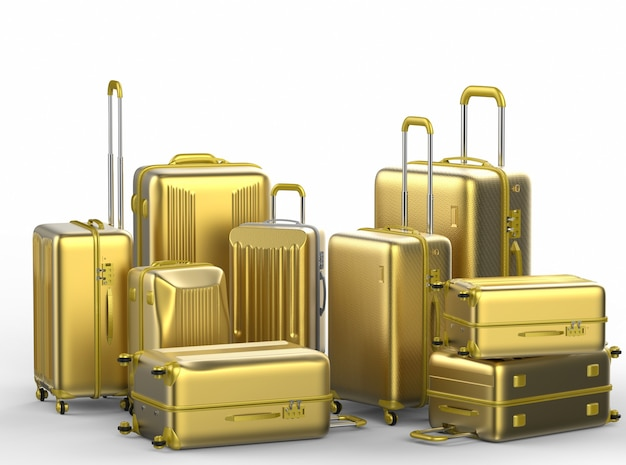 3d rendering gold hard case luggages on white background