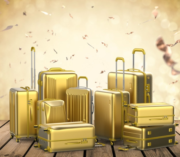 3d rendering gold hard case luggages with gold glitter background