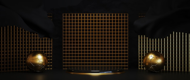 3d rendering of gold luxurious podium on black background