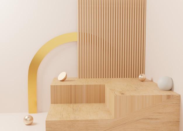 3dレンダリングゴールドパステルディスプレイ表彰台製品は、背景に立っています。最小限のジオメトリを抽象化します。プレミアム画像
