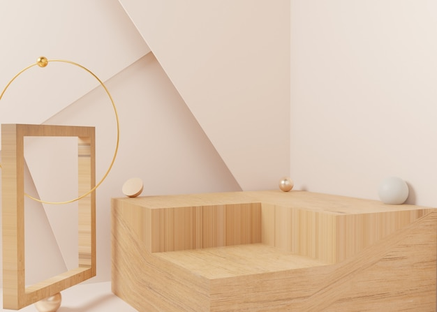 3d-рендеринг золотой пастельный дисплей подиум подставка для продуктов на фоне. абстрактная минимальная геометрия. премиум-изображение