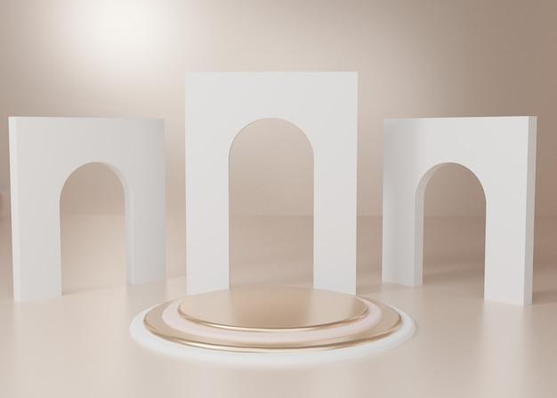 3d 렌더링 골드 파스텔 디스플레이 연단 제품 스탠드