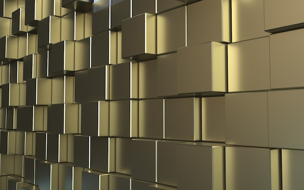 3d rendering gold polygon cube abstract background