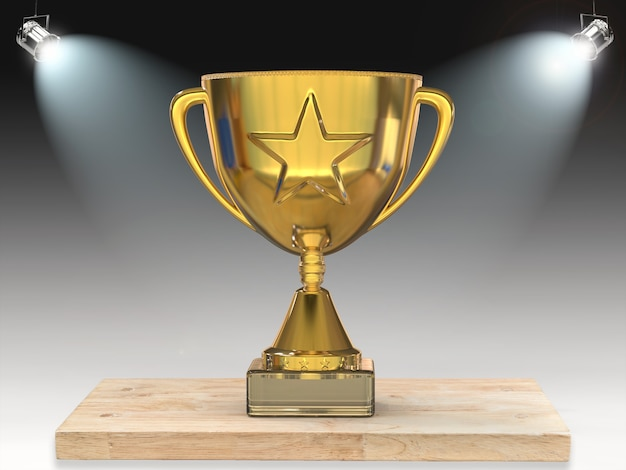 3d rendering gold star trophy on stage with shining lights