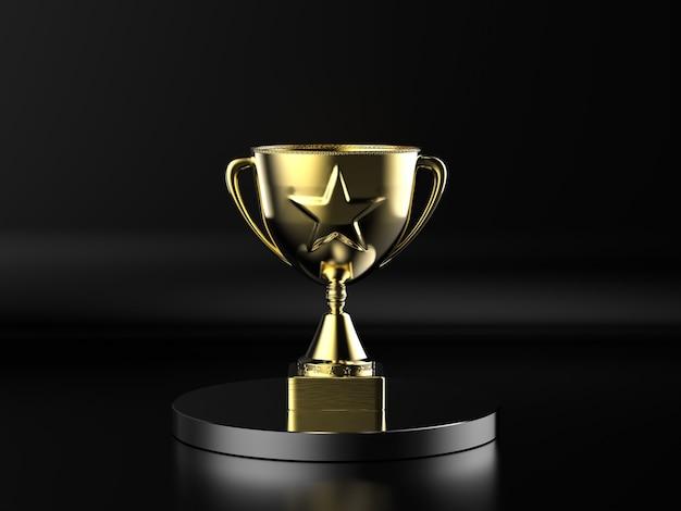 3d rendering gold star trophyâon black background