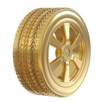 白で隔離の金の車輪と金のタイヤをレンダリングする3d