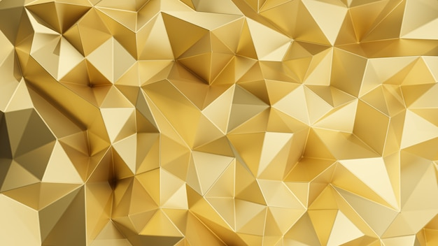3d rendering. gold triangular abstract background.