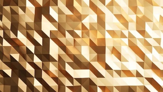 3dレンダリング。ゴールドの三角形の抽象的な背景。